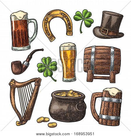 Saint Patrick s Day. Top gentleman hat Pot of gold coins smoking pipe beer glass lyre horseshoe clover barrel. Vector vintage color engraved illustration. Isolated on white background.