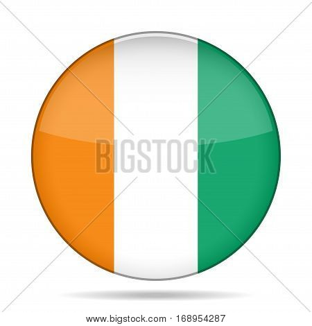 National flag of Ivory Coast. Shiny round button with shadow.