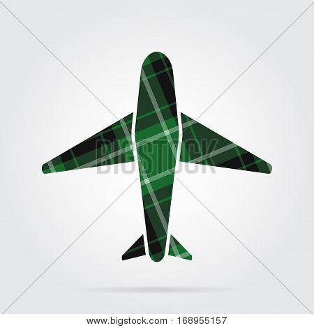 green black isolated tartan icon with white stripes - airplane and shadow in front of a gray background