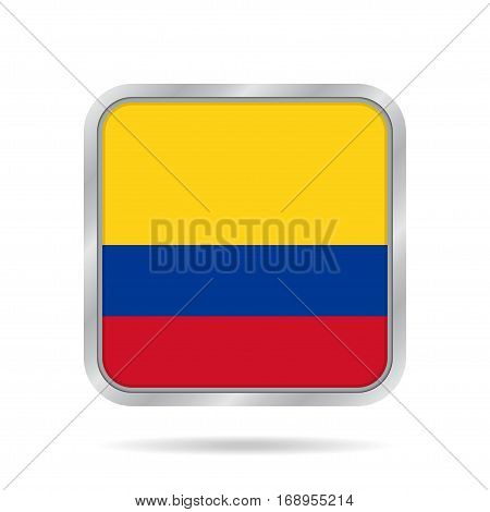 National flag of Colombia. Shiny metallic gray square button with shadow.