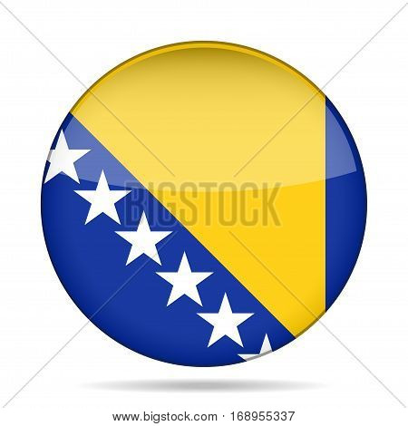 National flag of Bosnia and Herzegovina. Shiny round button with shadow.