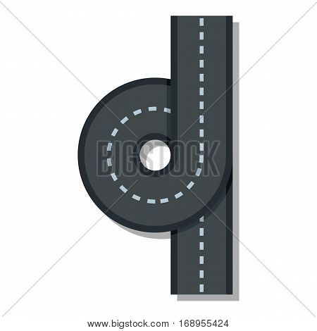 Road junction icon. Flat illustration of road junction vector icon for web
