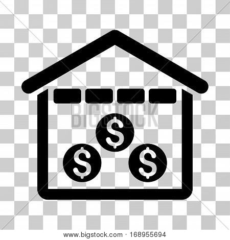 Money Depository icon. Vector illustration style is flat iconic symbol, black color, transparent background. Designed for web and software interfaces.