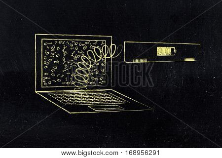 Laptop's Battery Module Out On A Spring