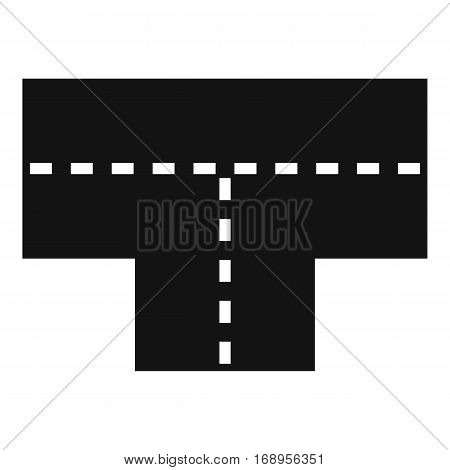 Tshaped crossroad icon. Simple illustration of tshaped crossroad vector icon for web