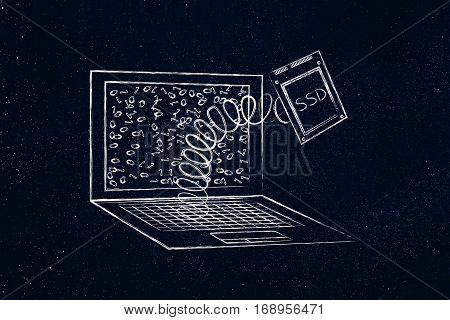 Laptop's Ssd Storage Module Out On A Spring