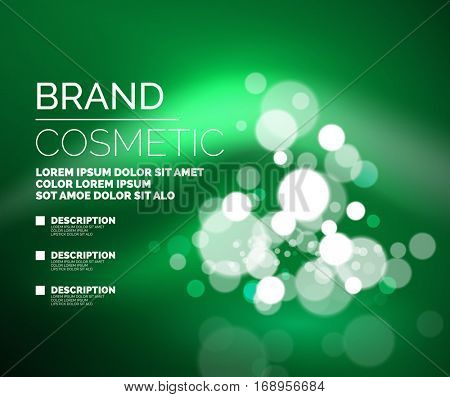 Vector universal glamorous cosmetic blank advertising template with shiny place for your object with sparkles, glittering and promotion sample text