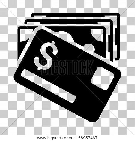 Banknotes And Card icon. Vector illustration style is flat iconic symbol, black color, transparent background. Designed for web and software interfaces.