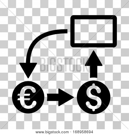 Cashflow Euro Exchange icon. Vector illustration style is flat iconic symbol, black color, transparent background. Designed for web and software interfaces.