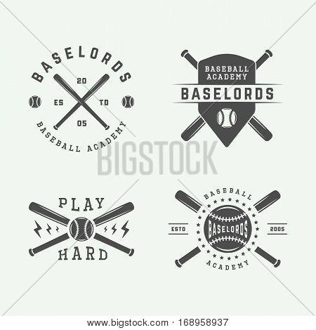 Set of vintage baseball logos emblems badges and design elements. Monochrome graphic Art. Vector Illustration.