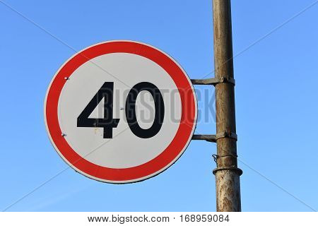 traffic sign speed limit on this part of the road forty kilometers per hour