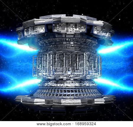 Concept energy futuristic. Conceptual high tech power plant thermonuclear or nuclear reactor, including elements of fusion space stations, geothermal electricity production, microwave components