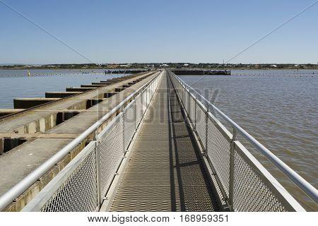 Walk Way Of Barrage And Lock, Goolwa, Sa, Fleurieu Peninsula