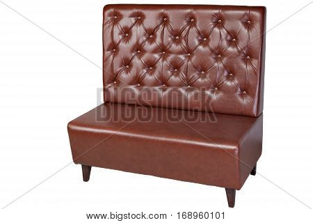 2 seater brown leatherette office sofa isolated on white clipping path saved.