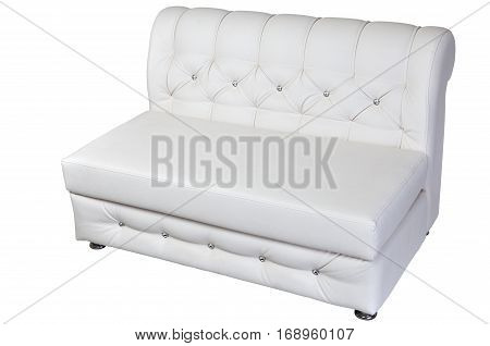 Double seater sofa lounge leather white isolated on white clipping path saved.