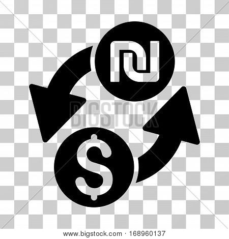 Dollar Shekel Exchange icon. Vector illustration style is flat iconic symbol, black color, transparent background. Designed for web and software interfaces.