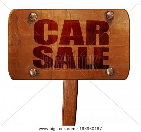 car sale, 3D rendering, text on wooden sign