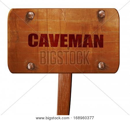 caveman, 3D rendering, text on wooden sign