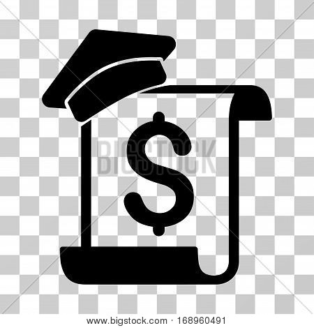 Education Invoice icon. Vector illustration style is flat iconic symbol, black color, transparent background. Designed for web and software interfaces.