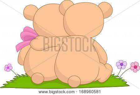 Vector illustration of Cartoon couple of hugging bears