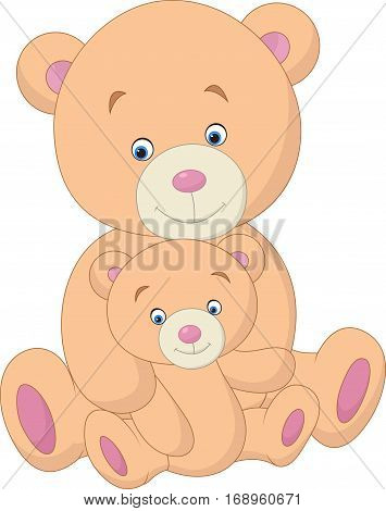 Vector illustration of Mother and baby bear cartoon