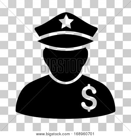 Financial Policeman icon. Vector illustration style is flat iconic symbol, black color, transparent background. Designed for web and software interfaces.