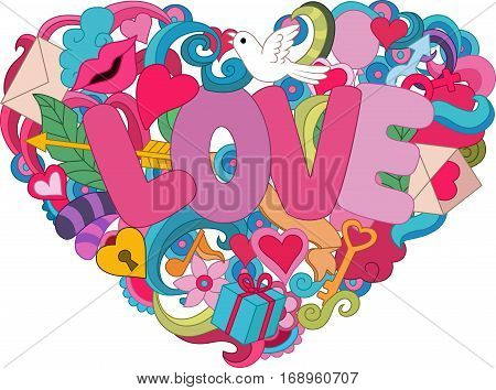 Vector illustration of Hearth love concept on colorful background
