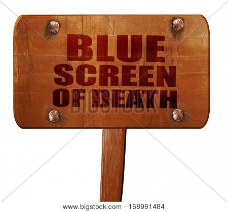 blue screen of death, 3D rendering, text on wooden sign