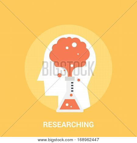 Abstract vector illustration of researching icon concept