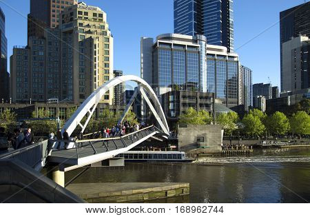 MELBOURNE, AUSTRALIA - OCTOBER 14, 2016:  There's more than 20 differents footbridge along the Yarra river in downtown Melbourne, Victoria,  Australia.