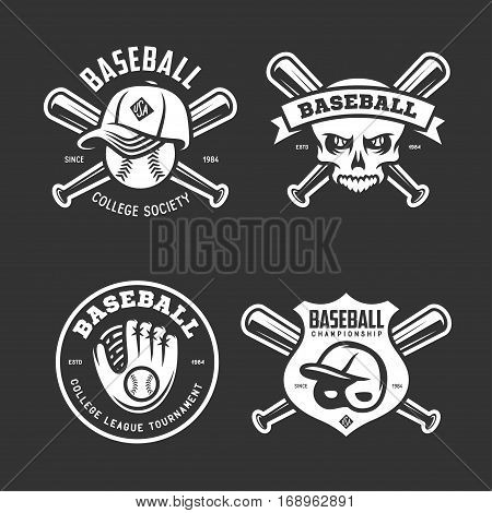 Baseball labels badges emblems logos set. Baseball glove, bat, helmet and cap. National american sport. Creepy skull drawing. Vector vintage illustration.