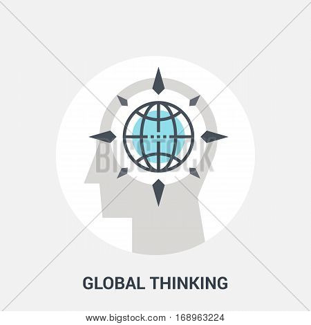 Abstract vector illustration of global thinking icon concept
