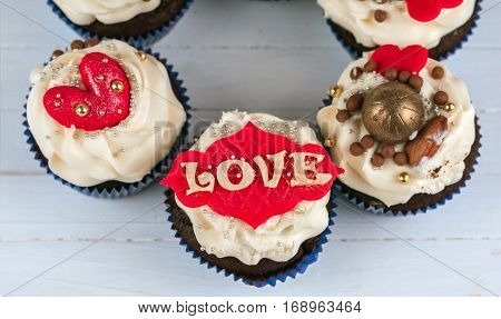 Birthday cupcake. Cupcakes for Valentine's Day. Love cupcakes with heart.