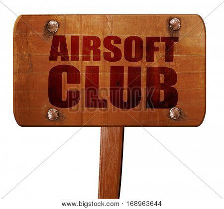 Airsoft club, 3D rendering, text on wooden sign