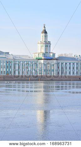 Cabinet of Curiosities and Neva River in St.Petersburg Russia.