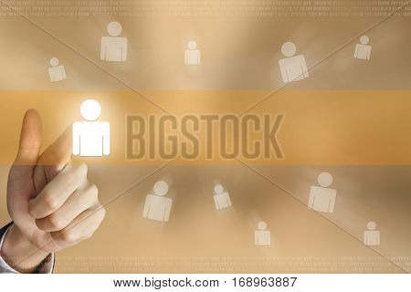 business hand pushing people button business concept