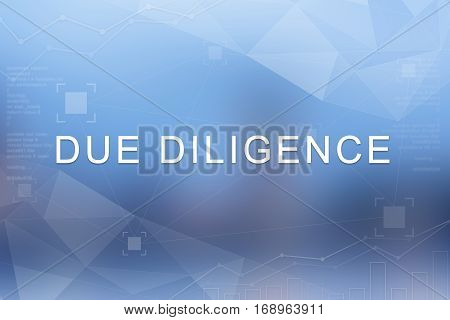 Due diligence word on blue blurred and polygon background