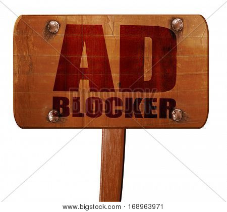 ad blocker, 3D rendering, text on wooden sign