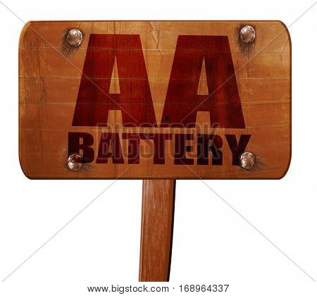 aa battery, 3D rendering, text on wooden sign