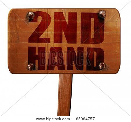 2nd hand, 3D rendering, text on wooden sign