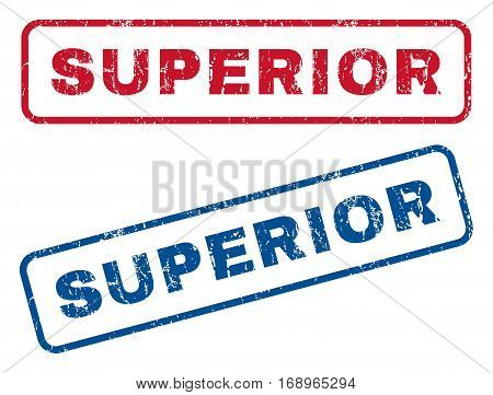 Superior text rubber seal stamp watermarks. Vector style is blue and red ink caption inside rounded rectangular shape. Grunge design and unclean texture. Blue and red emblems.