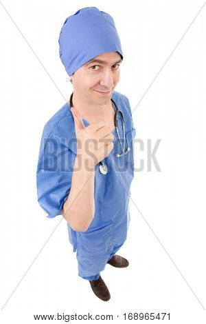 male doctor going thumb up, full length, isolated on white