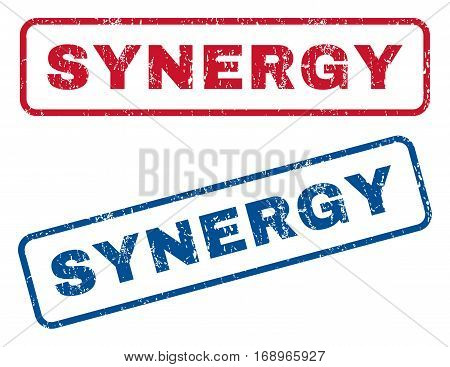 Synergy text rubber seal stamp watermarks. Vector style is blue and red ink tag inside rounded rectangular shape. Grunge design and unclean texture. Blue and red stickers.
