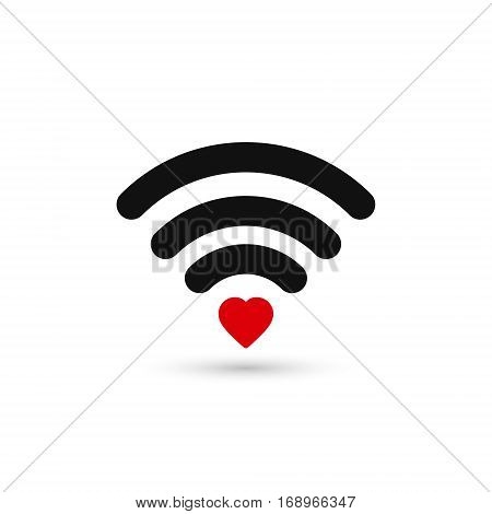 Heart wifi. Vector heart connect icon in flat style. Heart signal. Love connection. Hotspot signal. Love Wifi signal. Wifi sign.