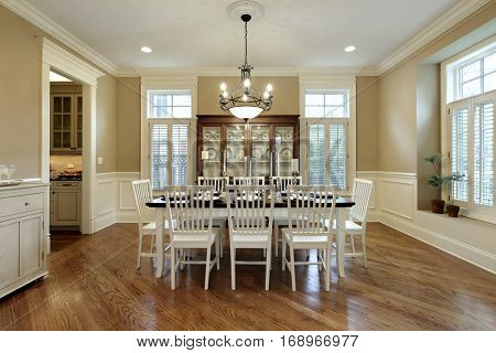 Dining room in upscale home with large buffet