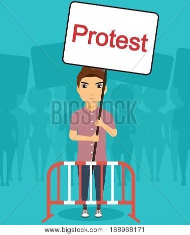 Concept manifestations of civil unrest. The young man with a placard in the hands of the protesters. The fight against injustice. A strong spirit of man.