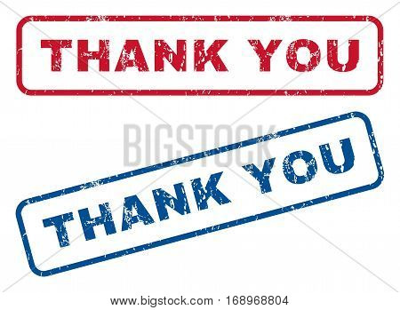 Thank You text rubber seal stamp watermarks. Vector style is blue and red ink tag inside rounded rectangular shape. Grunge design and unclean texture. Blue and red emblems.