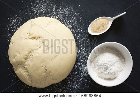 Risen or proved yeast dough for bread or pizza on a floured slate surface ingredients on the side photographed overhead with natural light (Selective Focus Focus on the top of the dough and the flour in the bowl)