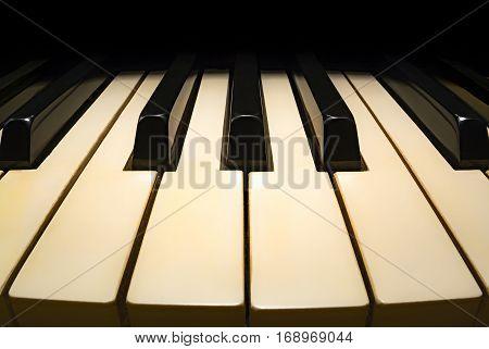 Keys of old piano, cozy place, fisheye