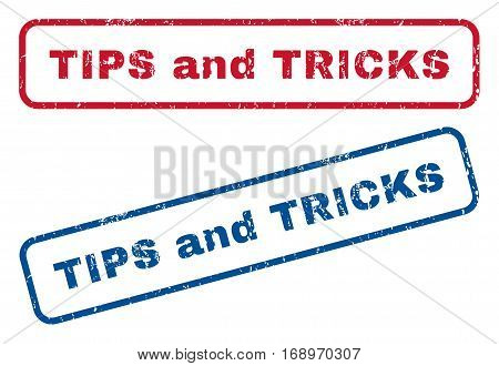Tips and Tricks text rubber seal stamp watermarks. Vector style is blue and red ink tag inside rounded rectangular banner. Grunge design and dust texture. Blue and red stickers.